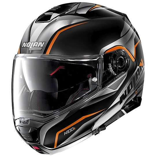 Casque de moto modulaire Nolan N100.5 BALTEUS N-Com 044 Glossy Black Orange