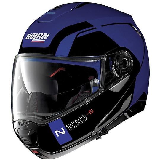 Casque de moto modulaire Nolan N100.5 Consistency N-Com 024 Flat Cayman Blue