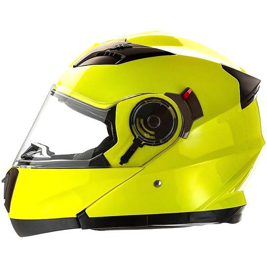 Casque de moto modulaire ouvrable Motocubo 925 double visière jaune Hi-Vision