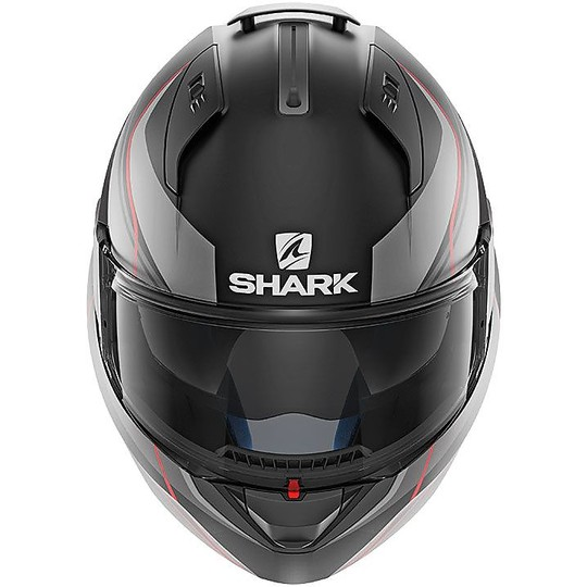 Casque de moto modulaire ouvrable Shark EVO ONE 2 KRONO noir mat rouge