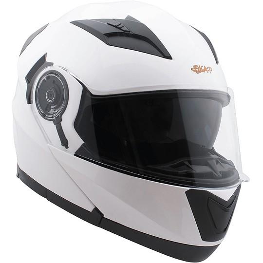 Casque de moto modulaire ouvrable Ska-P ROAD blanc brillant double visière