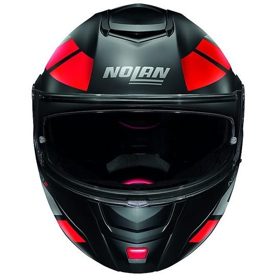 Casque de moto modulaire P / J Nolan N90.2 EUclid N-Com 025 Matt Black Red
