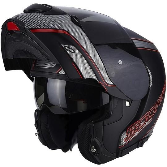 Casque de moto modulaire Scorpion Exo-3000 Air Stroll Matt Noir Rouge Gris