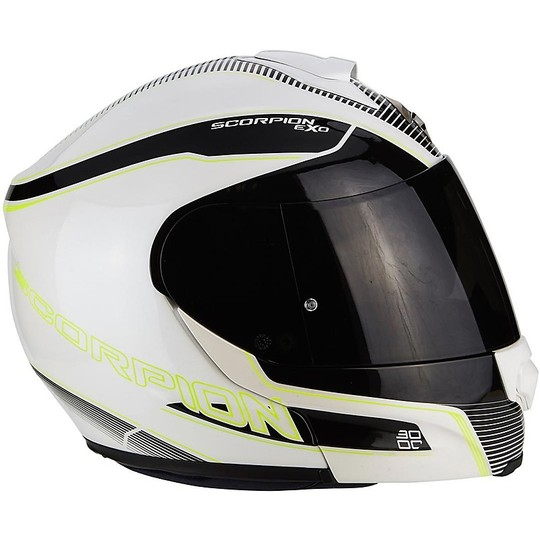 Casque de moto modulaire Scorpion Exo-3000 Air Stroll Pearl White Neon Yellow