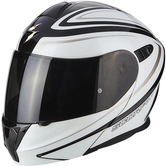 Casque de moto modulaire Scorpion Exo-920 Ritzy noir blanc