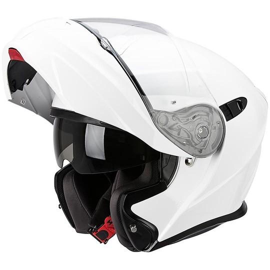 Casque de moto modulaire Scorpion Exo-920 Solid Mono White