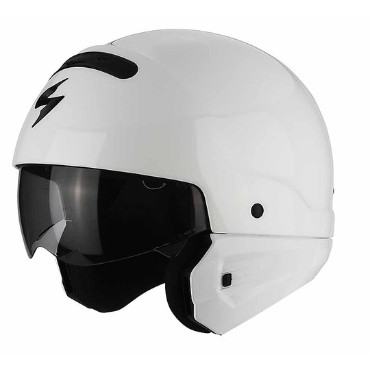 Casque de moto modulaire Scorpion Exo-Combat 2 en 1 Solid White