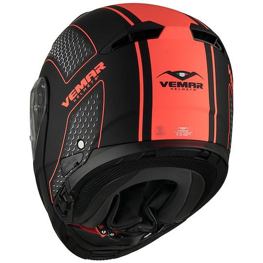 Casque de moto modulaire Vemar SHARKI Hive Matt Black Orange