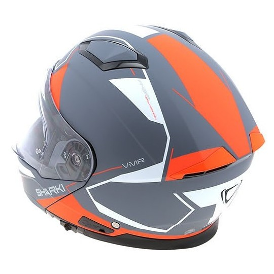 Casque de moto modulaire Vemar SHARKI S012 CUTTER NUDE Gris Rouge Fluo