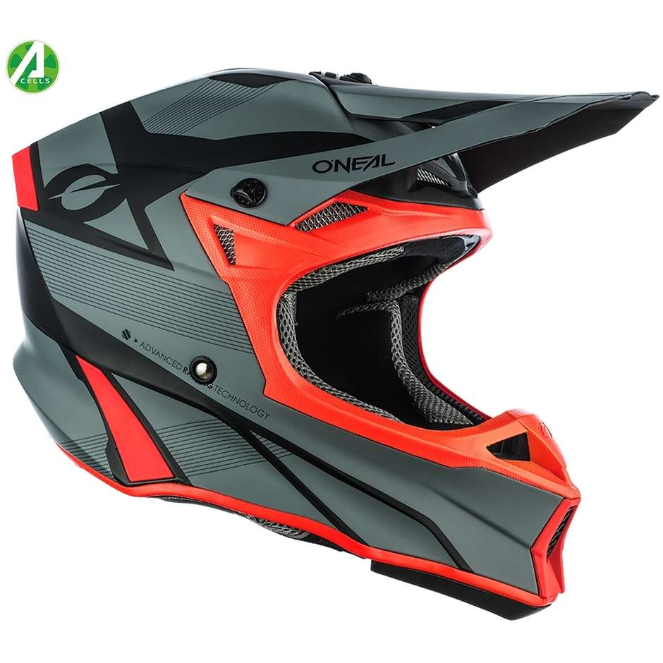 Casque de moto Oneal 10SRS Hyperlite COMPACT Cross Enduro gris / rouge