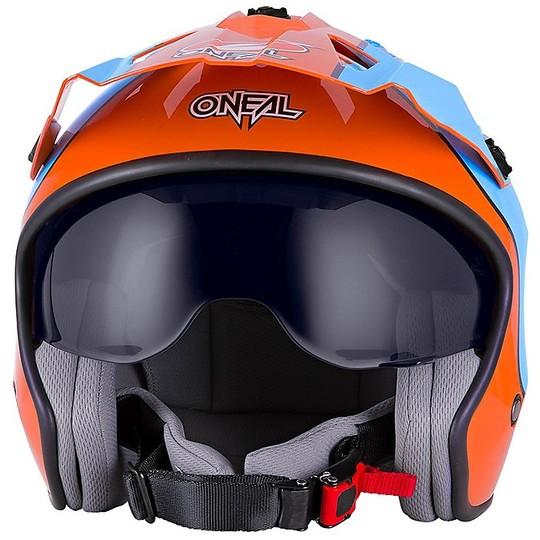 Casque de moto Oneal Volt Jet avec visière bleu orange GULF