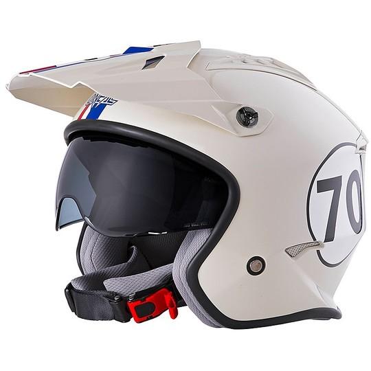 Casque de moto Oneal Volt Jet avec visière HERBIE Blanc