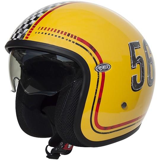 Casque de moto Premier FL12 Fibre Jet Vintage