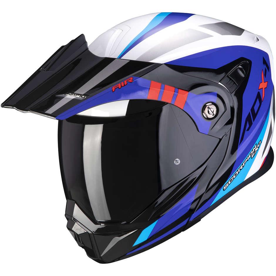 Casque de moto Scorpion ADX-1 FAR Adventure blanc bleu rouge