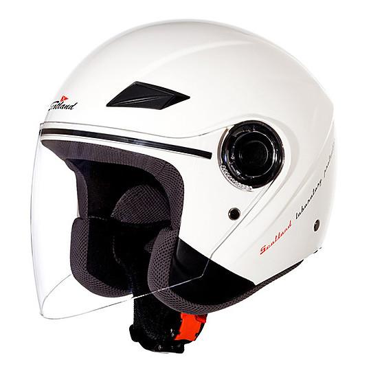 Casque de moto Scotland Force 03 Jet avec visière blanc perle