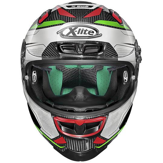Casque de moto tout carbone X-Lite X-803 Ultra Carbon CAESAR 059 blanc vert rouge