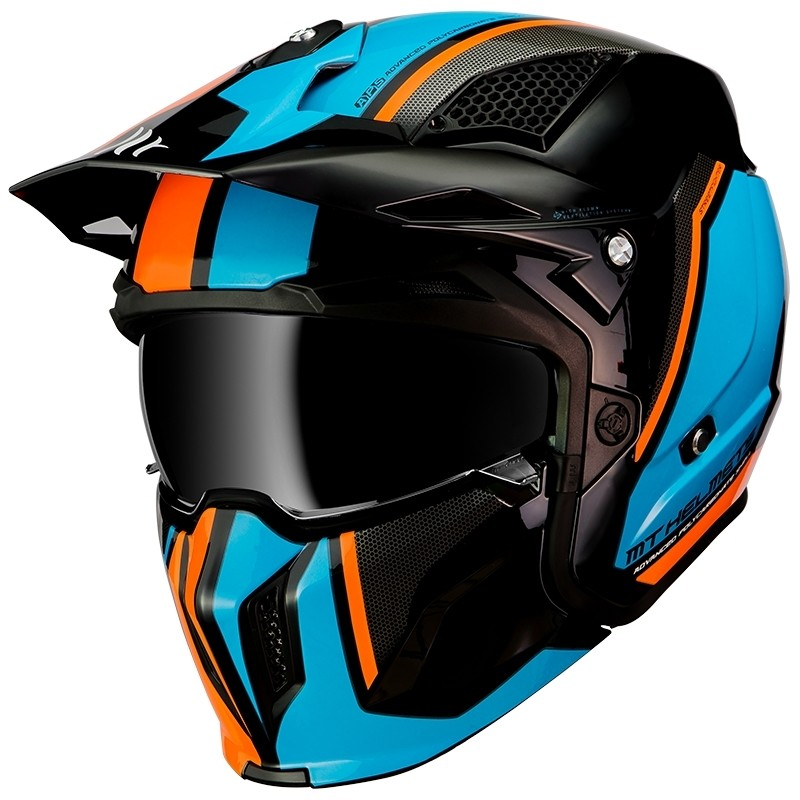 Casque de moto Trial Mt Helmet STREETFIGHTER Solid Exrta Sv TWIN A4 Orange Fluo