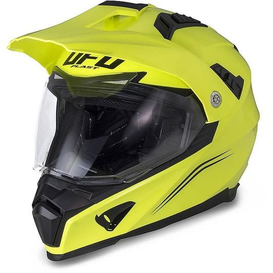 Casque de moto Ufo Aries Cross Enduro avec visière jaune fluo