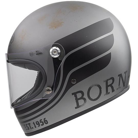Casque de moto vintage intégral des années 70 Premier Trophy BTR17 BM gris mat noir