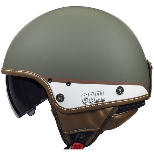 Casque de moto Vintage Jet CGM 105G GRENADE vert mat