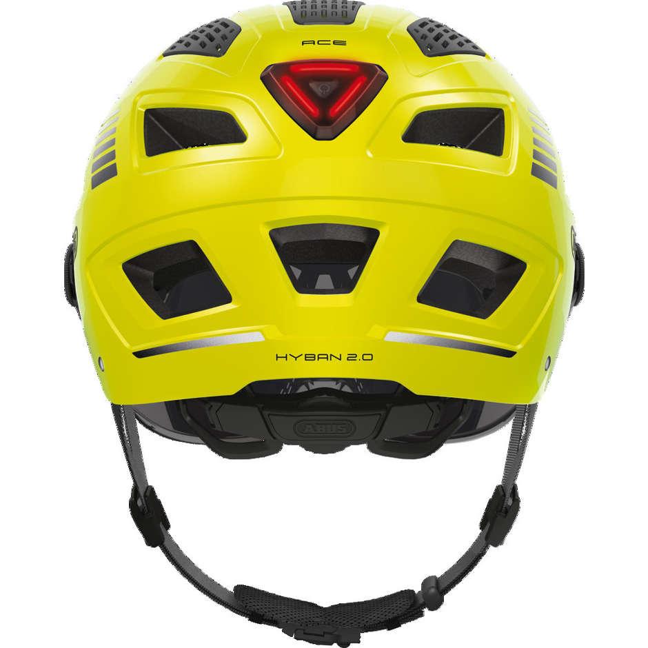 Casque de vélo Abus Hyban 2.0 Ace avec visière et signal LED jaune