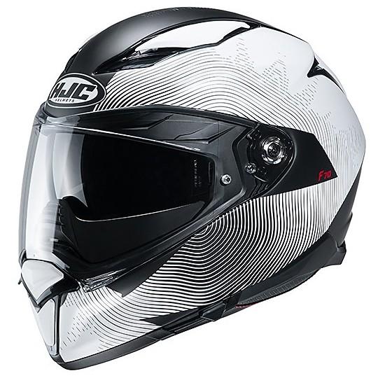 Casque Intégral En Double Visière Fibre Moto HJC F70 SAMOS MC10SF Blanc Noir Mat