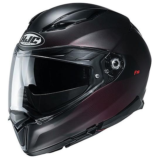 Casque Intégral En Double Visière Fibre Moto HJC F70 SAMOS MC1SF Noir Mat Violet