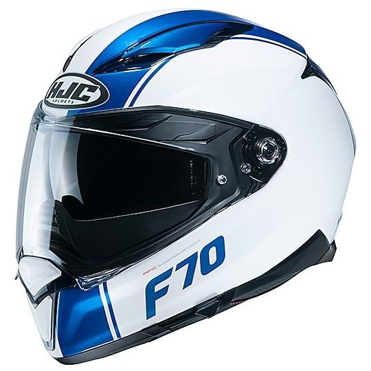 Casque intégral en fibre de visière double moto HJC F70 MAGO MC4HSF blanc mat bleu brillant