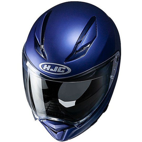 Casque intégral en fibre de visière double Moto HJC F70 Semi Matt Blue Metallic