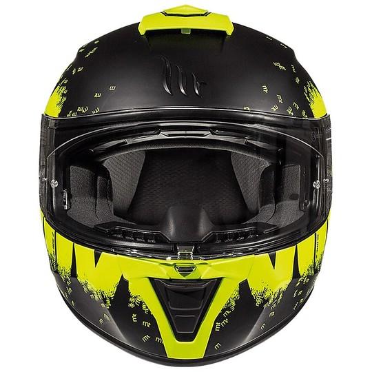 Casque Intégral Moto Casques MT BLADE 2 SV OBERON Noir Mat Jaune Fluo