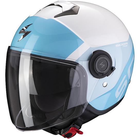 Casque Jet Double Visière Scorpion Exo-City SYMPA Blanc Bleu Ciel