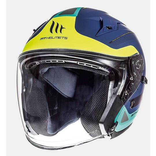 Casque Jet Helmet MT Helmets Avenue SV Crossroad Blue Yellow Green Matt