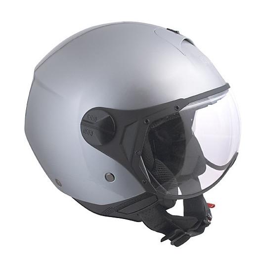 Casque jet moto avec visière caoutchoutée grise Florence CGM