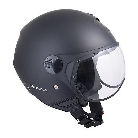 Casque jet moto avec visière caoutchoutée noire CGM Florence