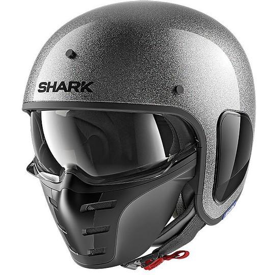 Casque Jet Moto en Shark Fibre S-DRAK Blank Glitter Silver