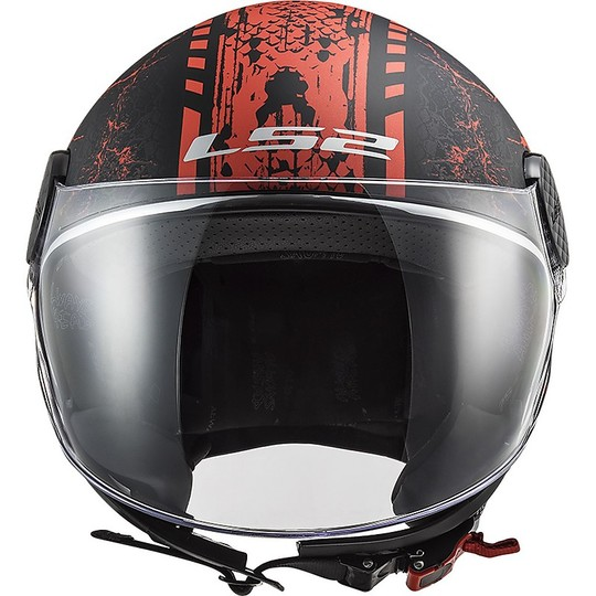 Casque Jet Moto Ls2 of558 SPHERE LUX Snake Matt Black Red