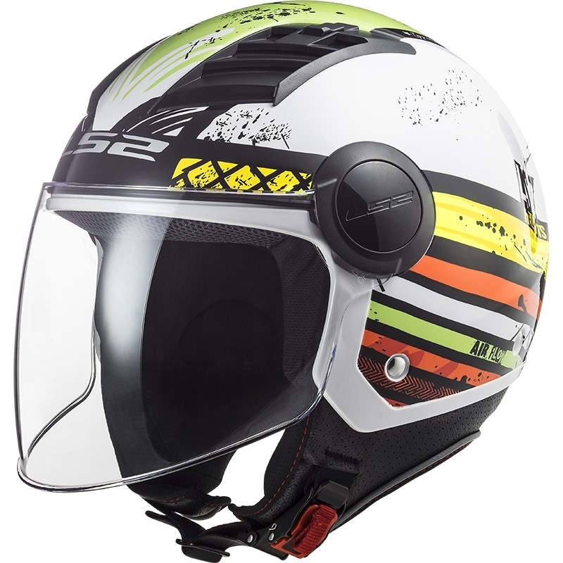 Casque Jet Moto Ls2 OF562 Airflow RONNIE Blanc Vert