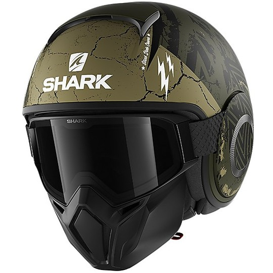 Casque Jet Moto Shark STREET-DRAK Crower Mat Vert Noir