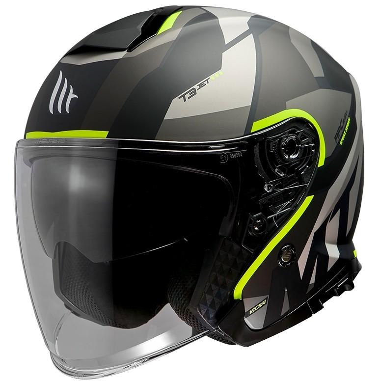 Casque Jet Mt Helmet THUNDER Sv Jet BOW A3 Matt Fluo Yellow
