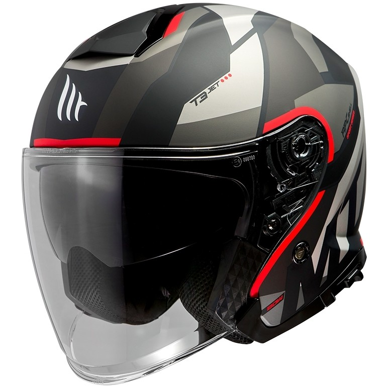 Casque Jet Mt Helmet THUNDER Sv Jet BOW A5 Noir Mat Rouge
