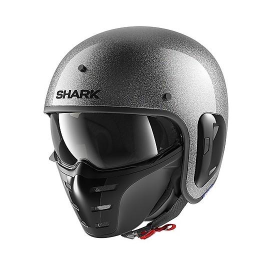 Casque Jet Retro en Motorcycle Fiber Shark S-DRAK 2 Blank Glitter Silver