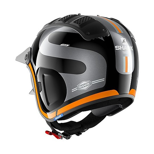 Casque Jet Retro Fibre Motorcycle Shark X-DRAK 2 Thrust-R Black Anthracite Orange