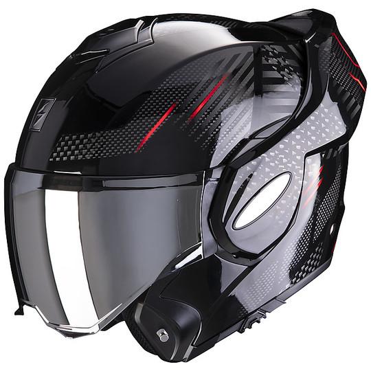 Casque Modulaire Approuvé P / J Moto Scorpion EXO-TECH PULSE Noir Rouge