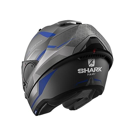 Casque Modulaire Chin Pliant Moto Shark EVO ES Yari Mat Anthracite Blue Silver Matt