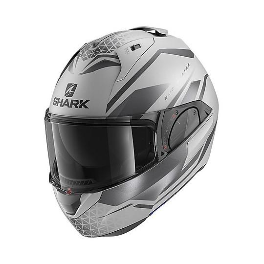 Casque Modulaire Chin Pliant Moto Shark EVO ES Yari Mat Silver Anthracite Matt Black