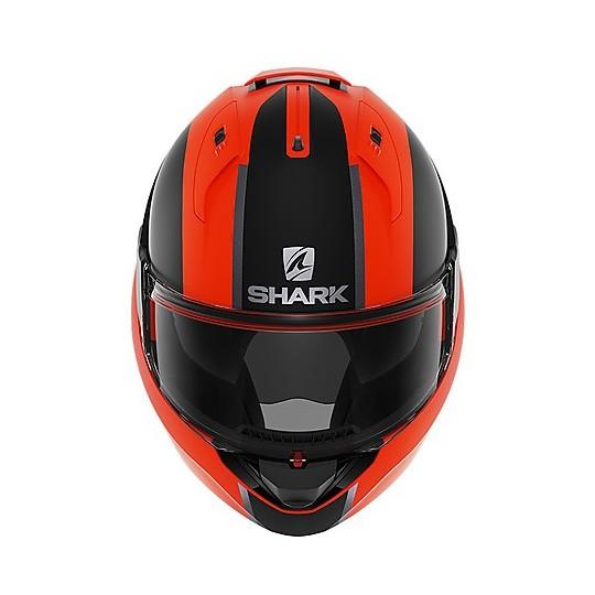 Casque modulaire Chin Tip Up Motorcycle Shark EVO ES Endless Mat Orange Matt Black