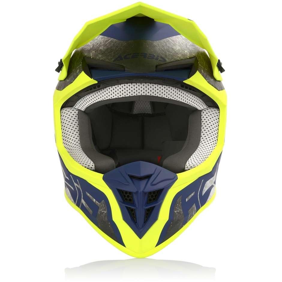 Casque Moto Acerbis LINEAR Cross Enduro Jaune Bleu Opaque