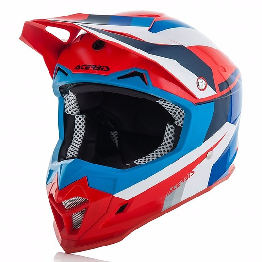 Casque Moto Acerbis Profile 4.0 Cross Enduro Bleu / Rouge Brillant