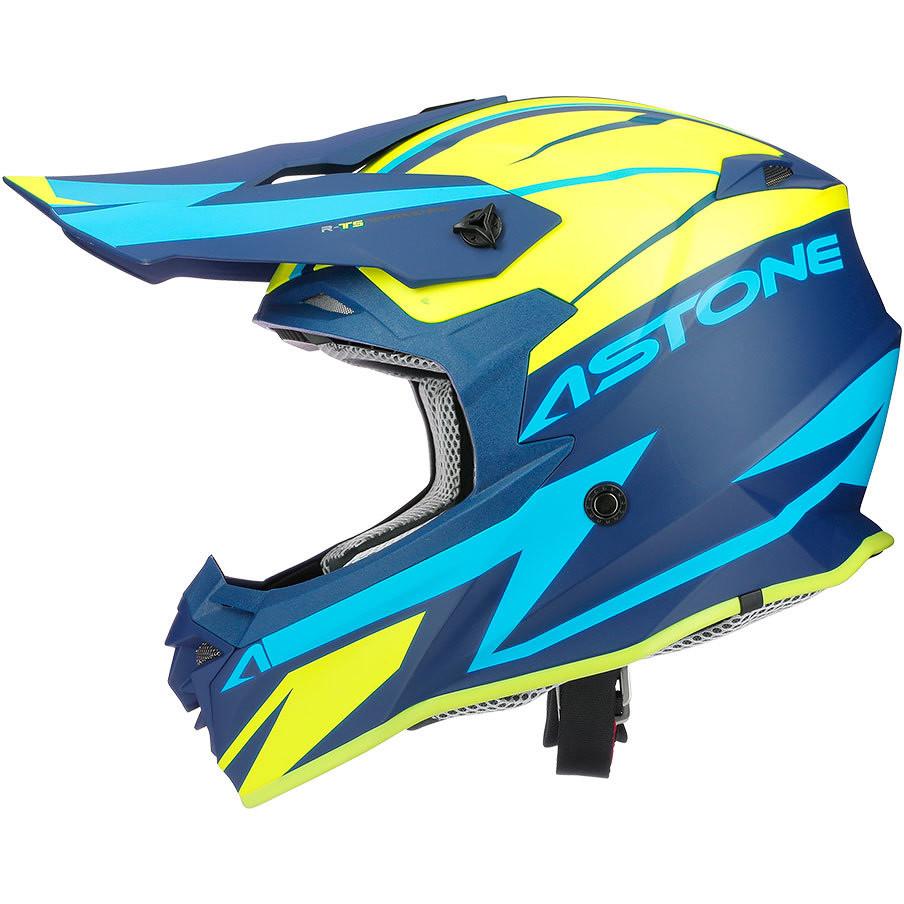 Casque Moto Astone MX800 RACERS Cross-Enduro Jaune Bleu Opaque
