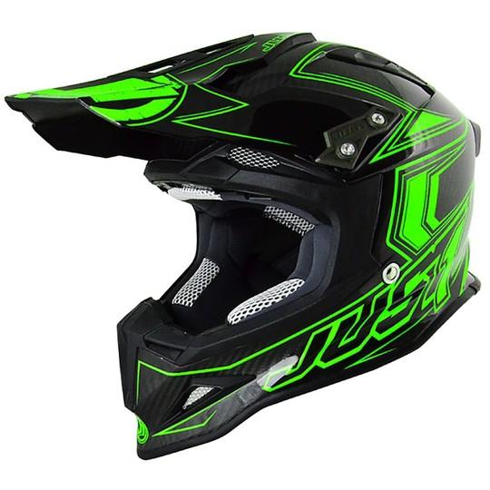 Casque Moto Cross en Fibre Just 1 J12 Carbon Fluo Green